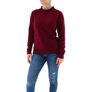 J. CREW Wine Cotton Ruffleneck Sweater Top #BP7